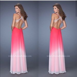 La Femme Designer Pink Ombré Long Bling Dress